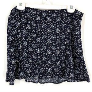 Calvin Klein Navy + White Floral Ruffle Mini Skirt